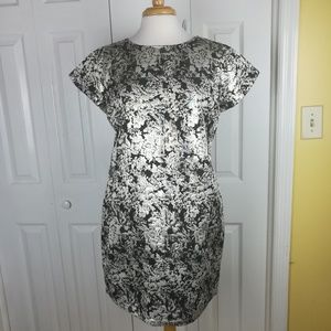 Xhilaration metallic and black floral sheath dress